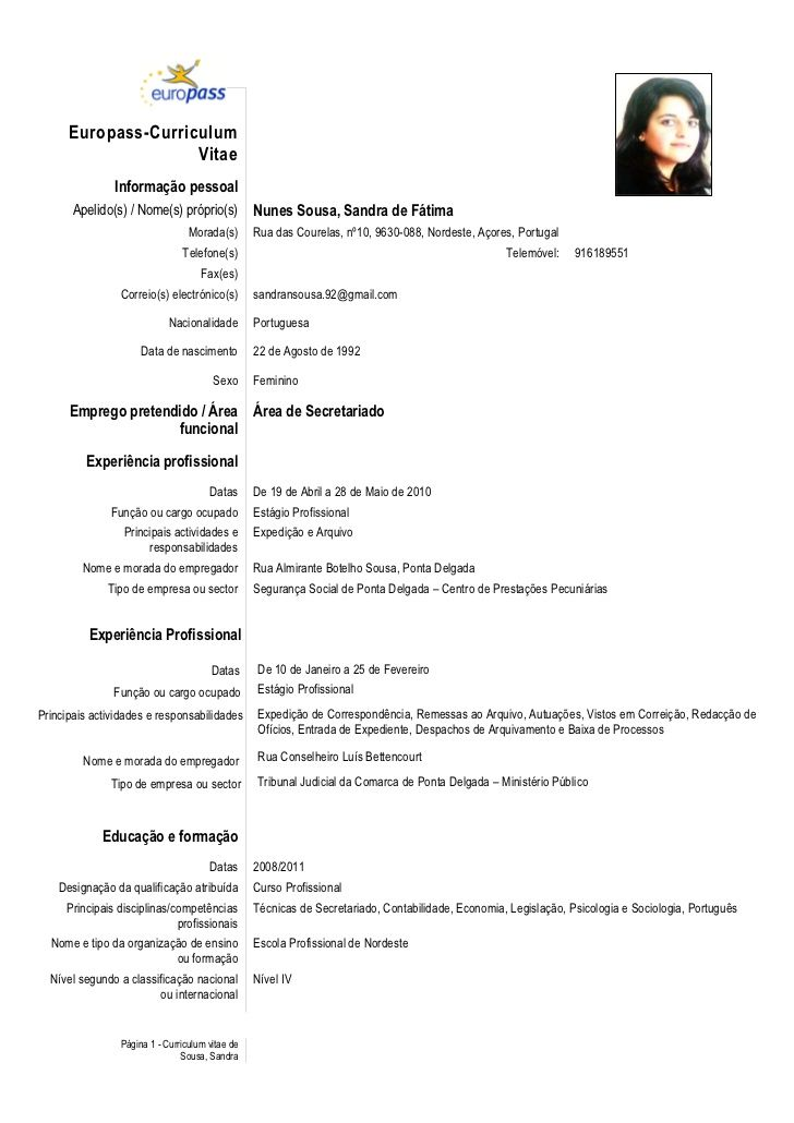 Europass-Curriculum Vitae Informação pessoal Apelido(s) \/ Nome(s - europass curriculum vitae