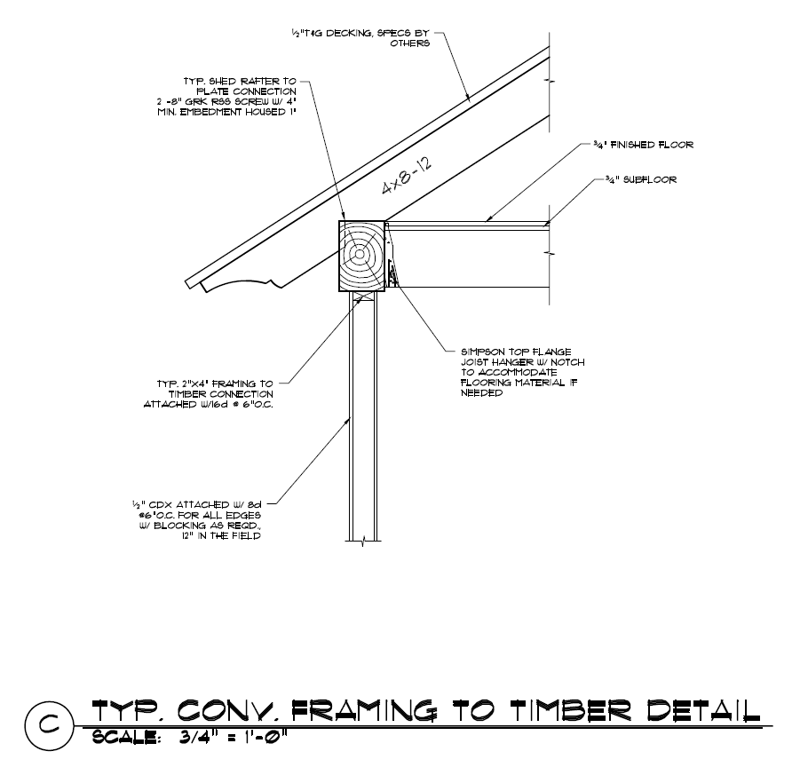 Stick Framing to Timber Frame Construction Detail | Construction ...