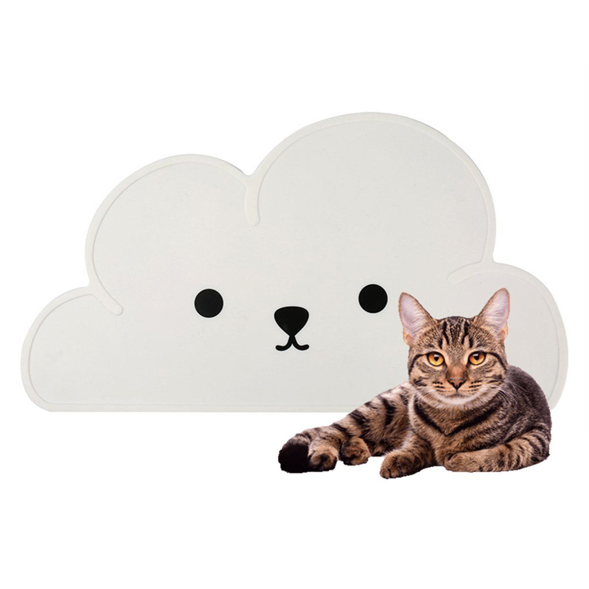 Pet Feeding Mat Silicone Cute Cloud Pattern With Smile