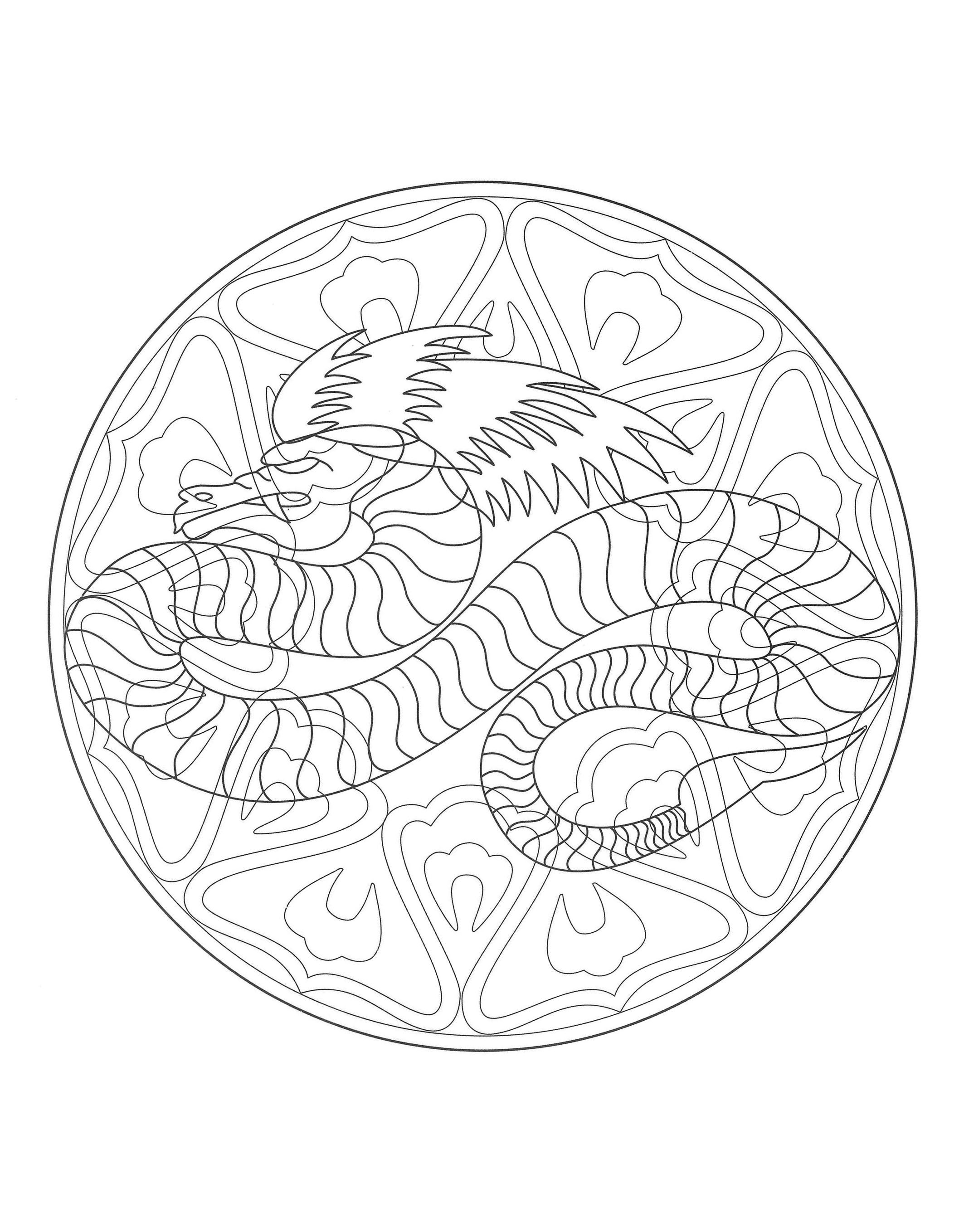 free mandala coloring page representing a dragon to download on www coloring