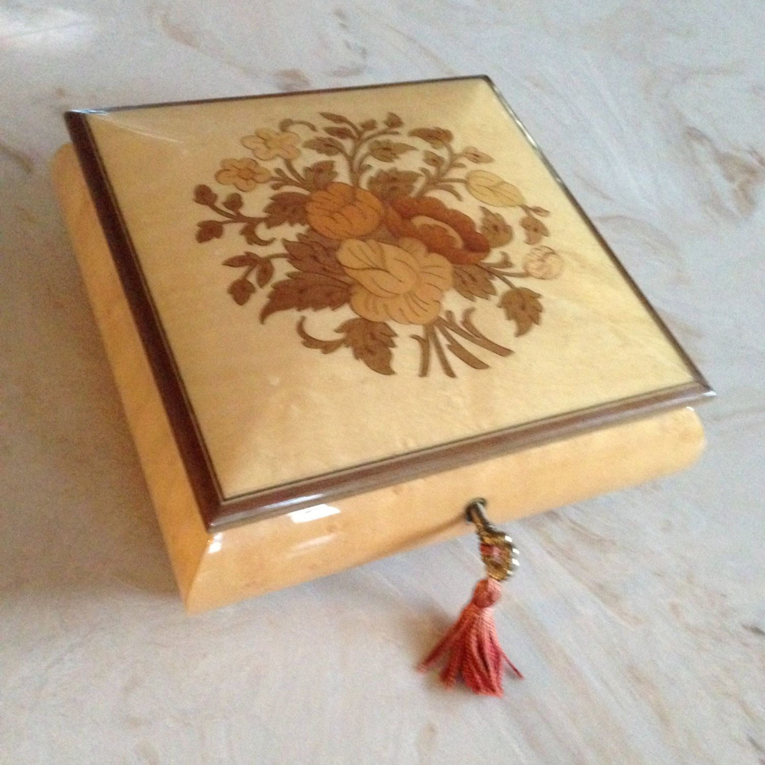Vintage Inlaid Marquetry Wood Roses Music Jewelry Box With Key Reuge Swiss Musical Movement Roses Music Box Jewelry Music Poster Design Music Notes Wall Art