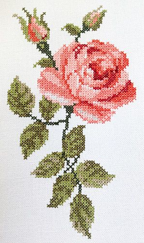 Kreuzstich rose stickvorlage rose sticken blumen for Vorlagen kreuzstich