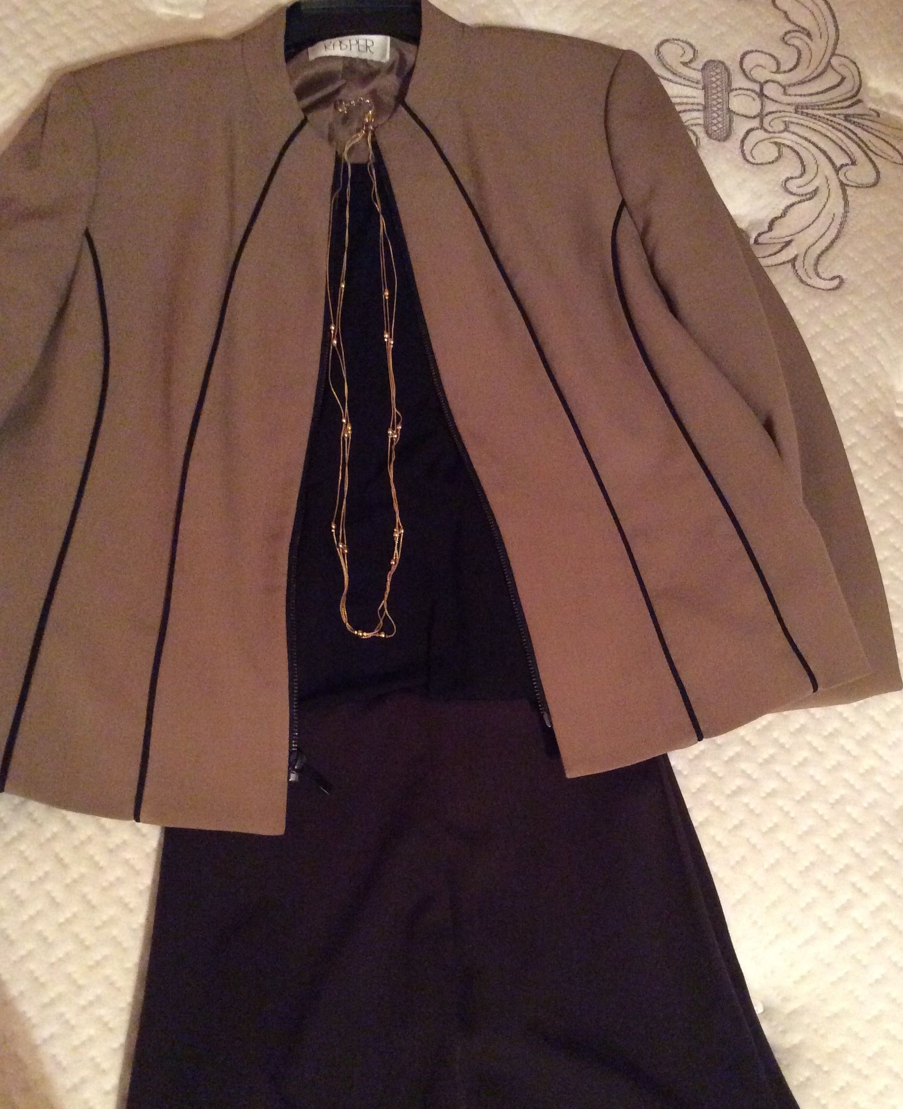 My combo outfit black sleeveless blouse camel blazer with black