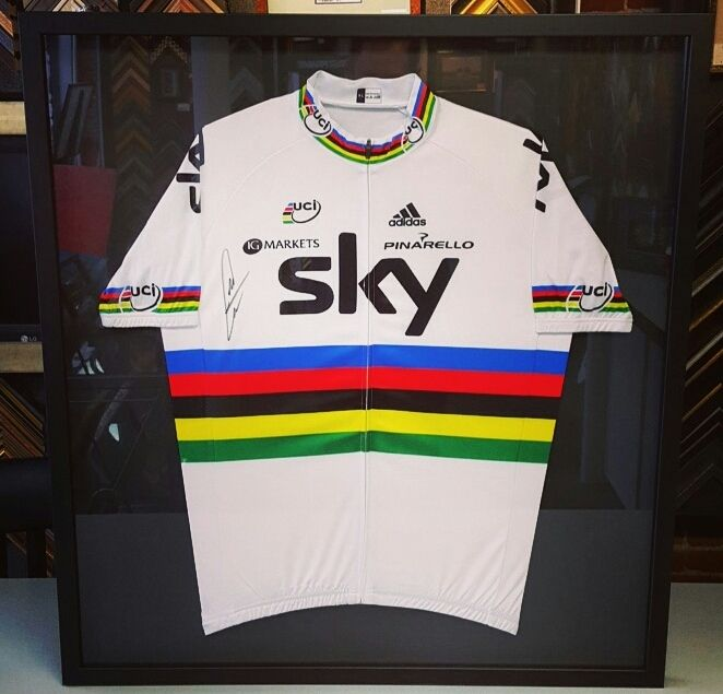 Custom framed cycling jersey using exclusively acid-free materials. Come  see us for your jersey framing needs!  art  pictureframing  customframing   denver ... f05c0c134
