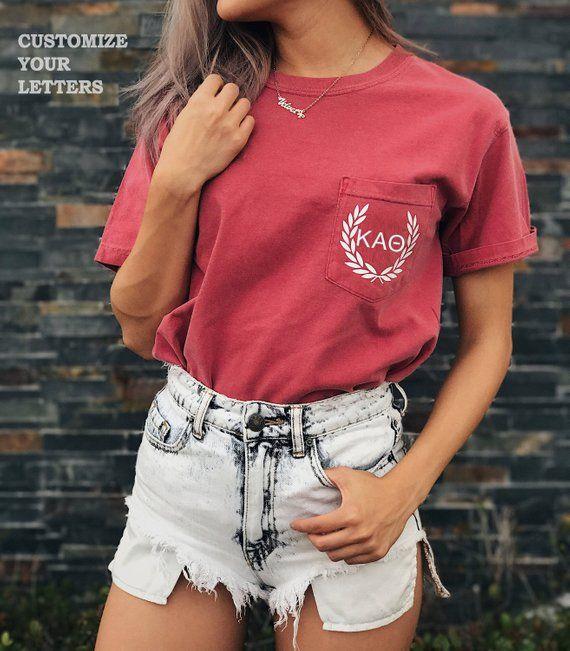 6a5aee9ac8ac Comfort Colors Adult 6.1 oz. Pocket T-Shirt Laurel Design for any Greek  Lettering