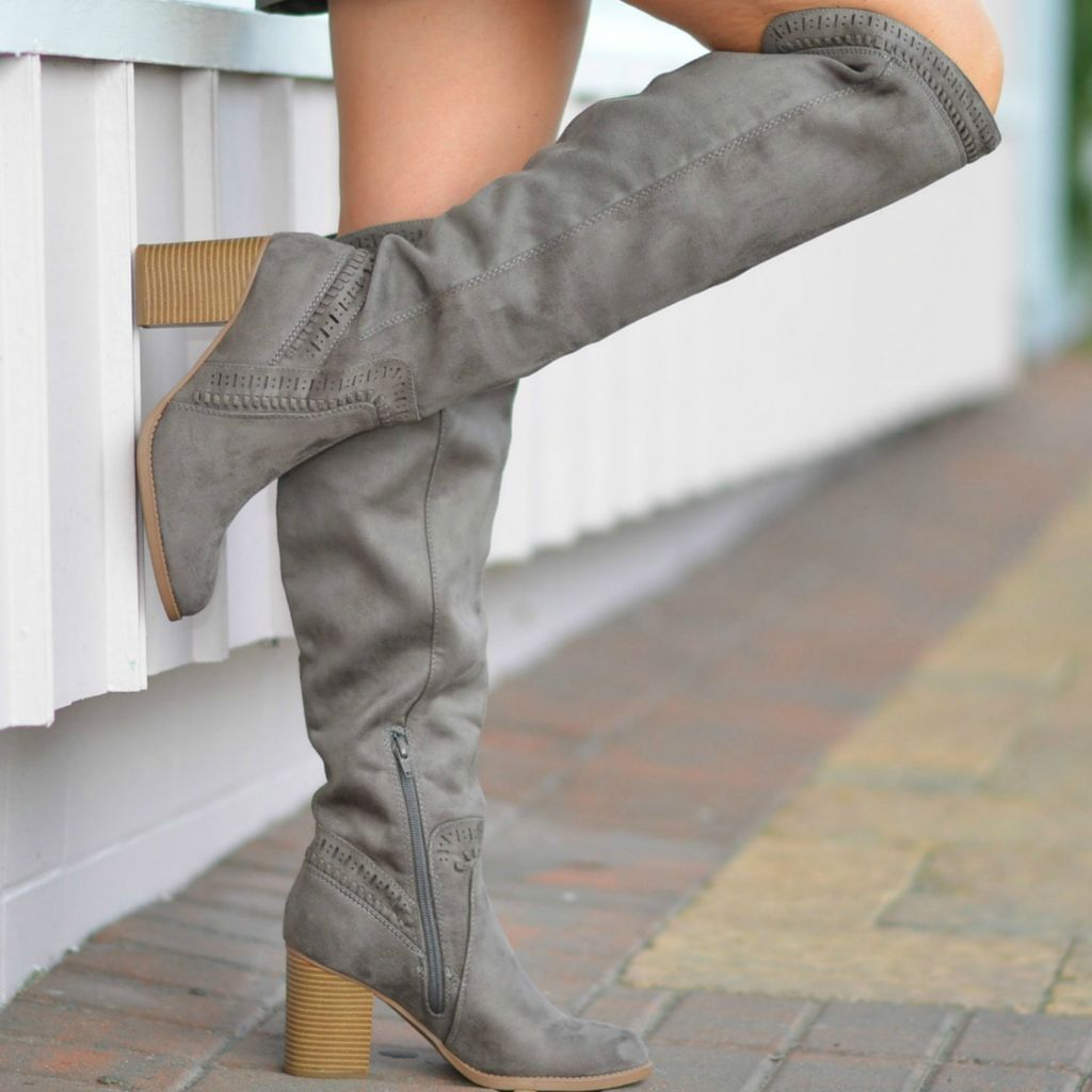 Walk Into Winter Suede Grey Tall Boot