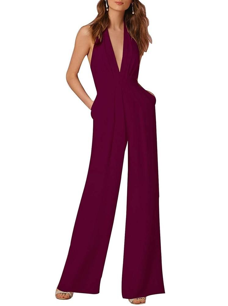 3afed6de7c Indistyle Women s Elegant Deep V Neck Backless Halter Jumpsuit Sleeveless  Wide  fashion  clothing  shoes  accessories  womensclothing   jumpsuitsrompers  ad ...