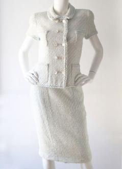 2b5e7160e Vintage Chanel White and Blue Tweed Double Breasted Skirt Suit ...