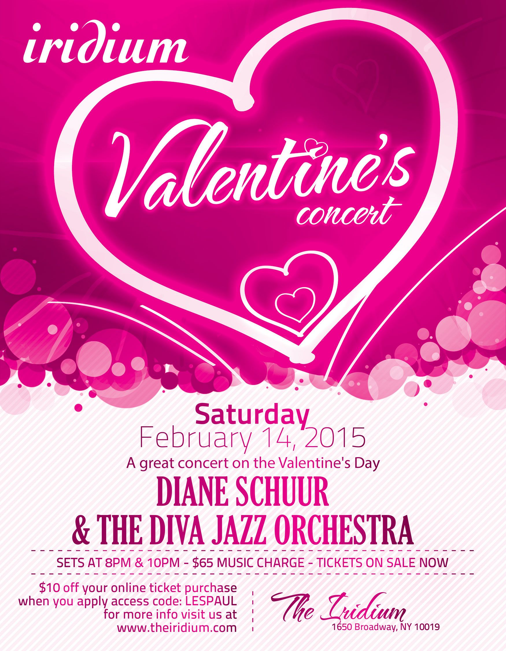 Valentine S Day Jazz At The Iridium Join Us Tonight As Diane Schuur The Diva Jazz Orchestra Take The Iridium Stage Liv Online Tickets How To Apply Orchestra