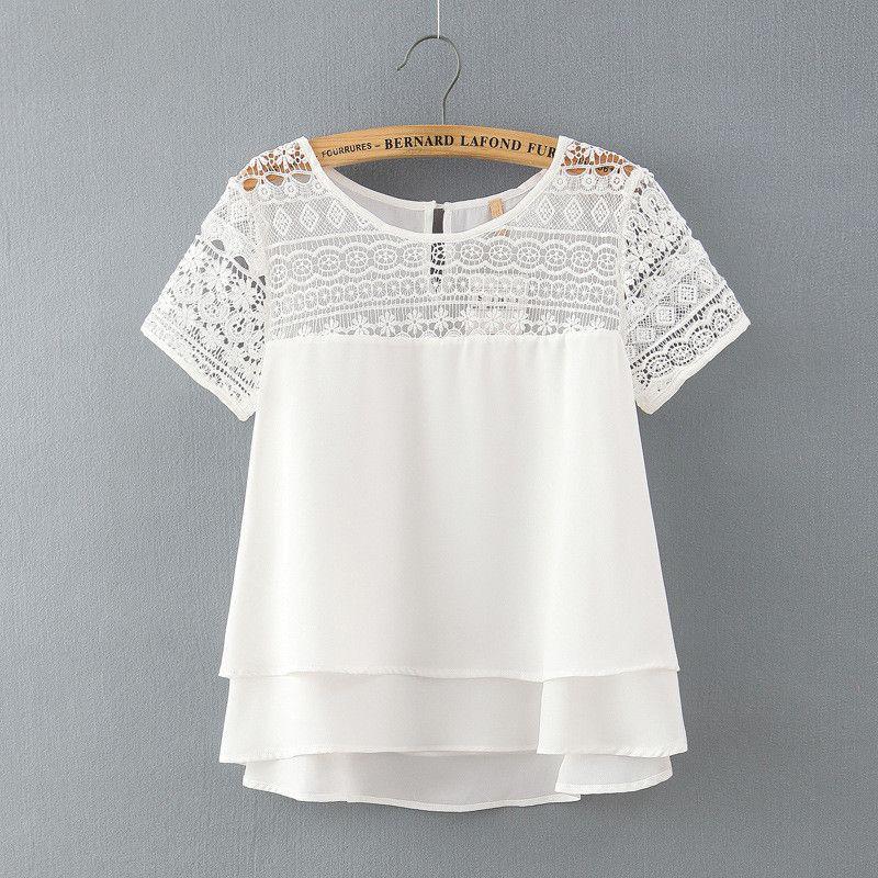 91e56e622 Encontrar Más Blusas y Camisas Información acerca de Nuevo 2016 verano moda  de manga corta para mujer blusa de la gasa del o cuello más el tamaño de  encaje ...
