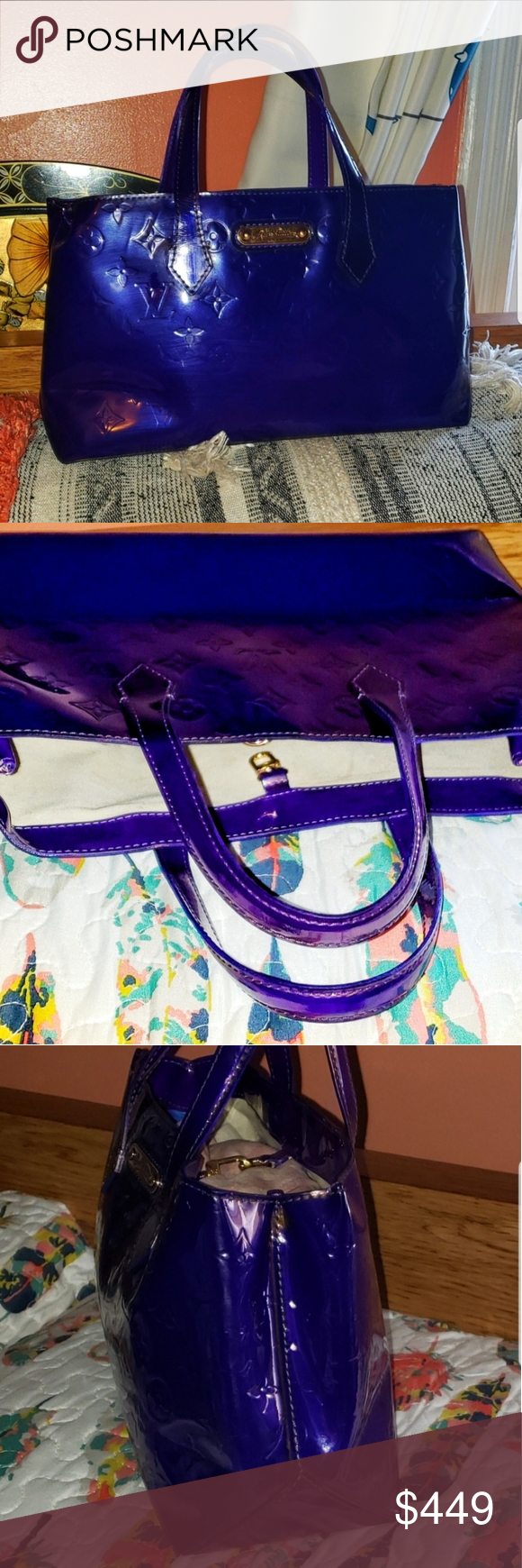 Louis Vuitton Custom Purple Vernis Wilshire PM Combines elegance and sophistication. She has been professionally dyed and sealed this amazing violet color. She features dual flat handles, front Louis Vuitton signature plaque, and gold hardware.   The interior is open with one zippered pocket. The serial number, SN1192, is in an odd spot and is difficult to capture.   She measures 12 by 7 by 5.  LAST PICTURE IS FOR SIZE REFERENCE ONLY!! Louis Vuitton Bags Satchels