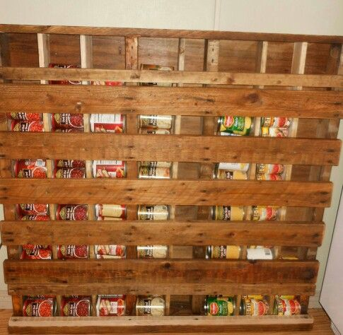 used an old pallet for a canned good holder. #oldpalletsforcrafting