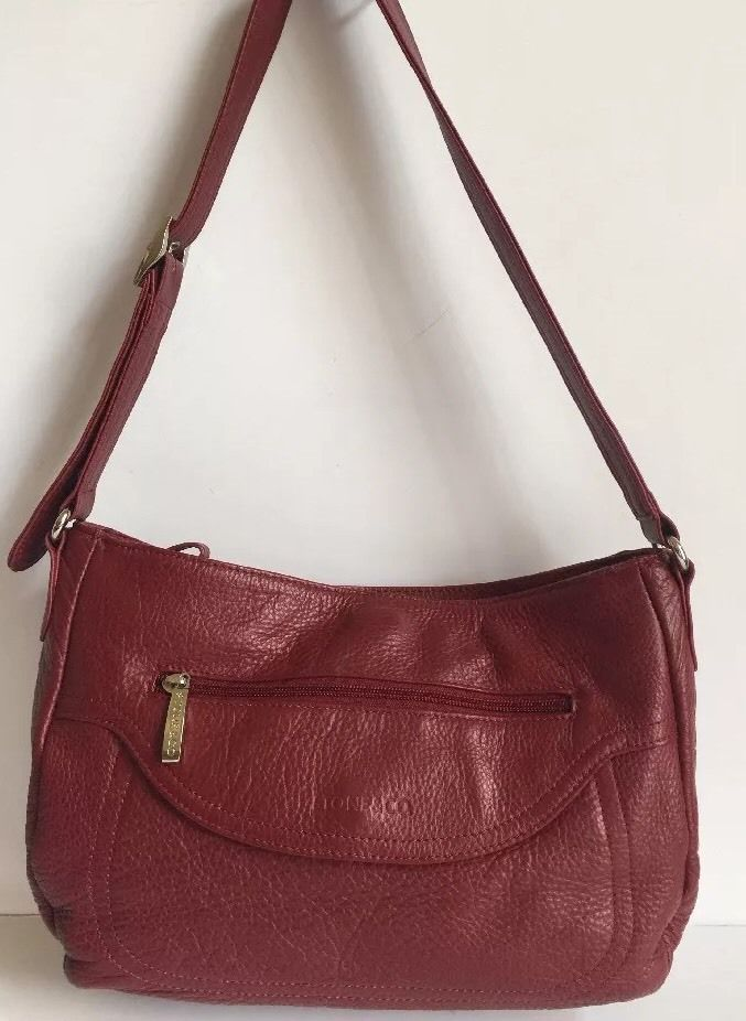 Red Stone Co Leather Shoulder Purse Bag Medium Ebay