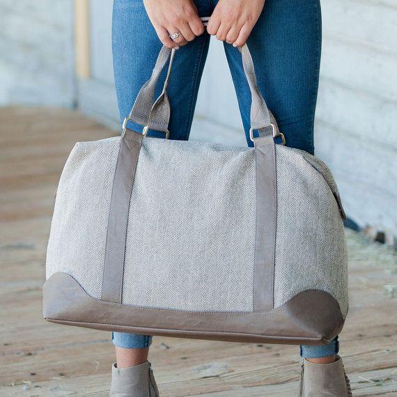 bb7b80838c Monogrammed Herringbone Weekender Bag - Personalized Weekender Bag - Weekend  Bag Women - Personalized Overnight Bags Personalized Luggage
