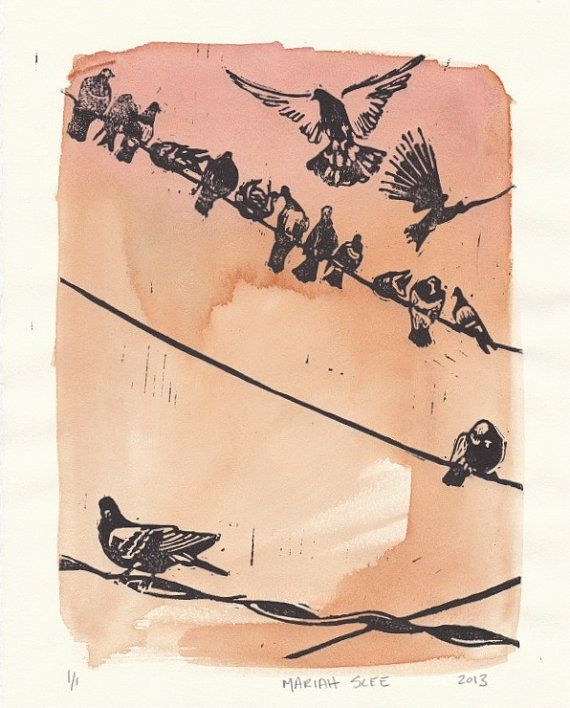 Pigeons On A Wire Monoprint Relief Print By Mariahscee On Etsy