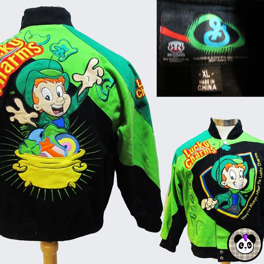 9a74c6c57586 Lucky Charms Racing Jacket Sz Youth XL Adult S Leprechaun St Patrick s Day  Green  GeneralMills  Luckycharms  cereal  irish  leprechaun  breakfast  90s    ...