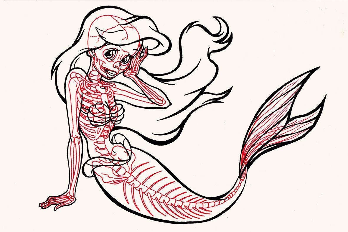 La Sirenita Pasada Por Rayos X Ilustración Dibujos
