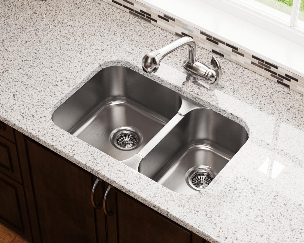 530l double bowl undermount sink 16 gauge stainless steel 27 1 2
