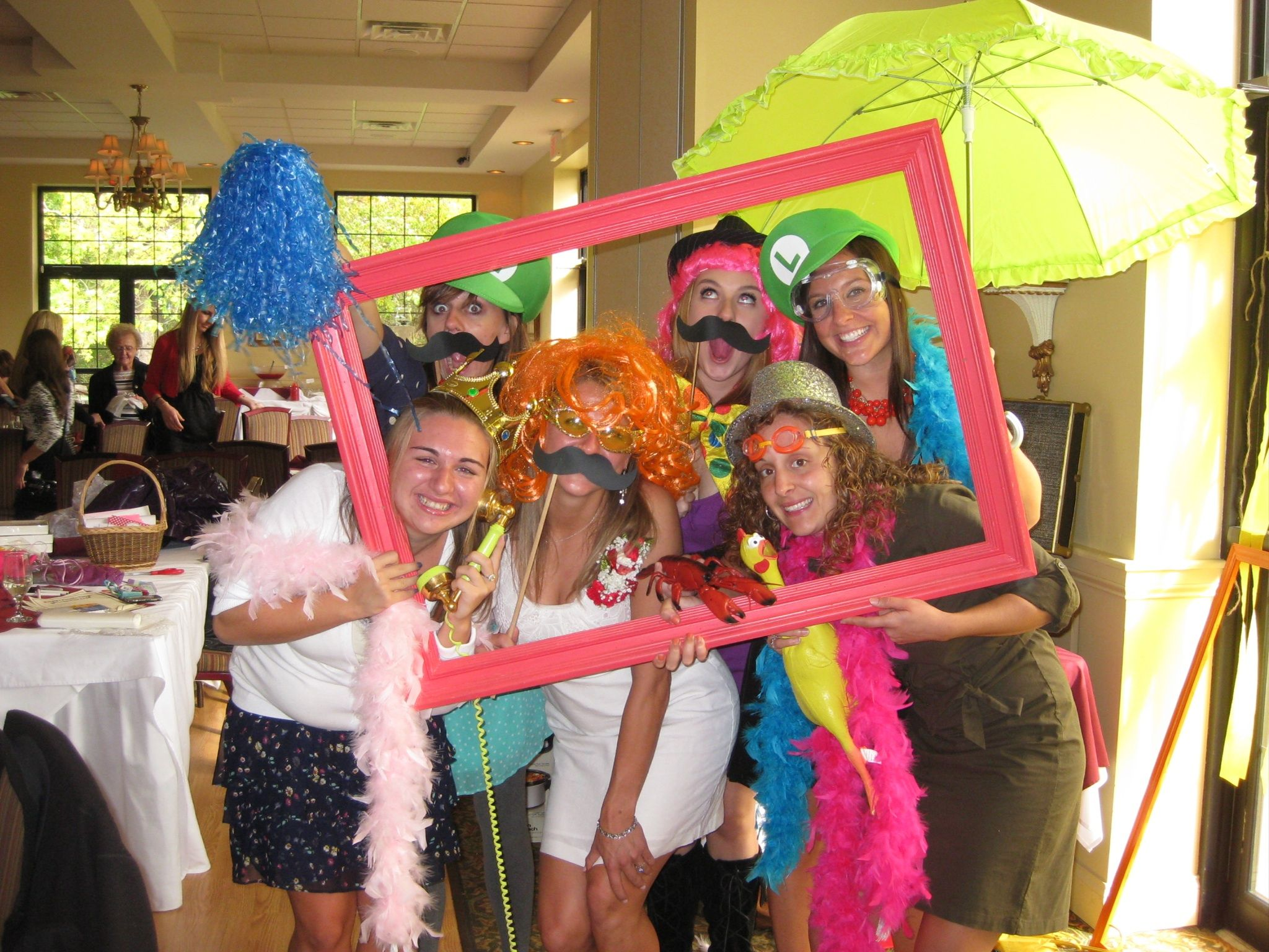 wedding photo booth props printable%0A Bridal Shower Photobooth   DIY with fun props and empty painted photo frames