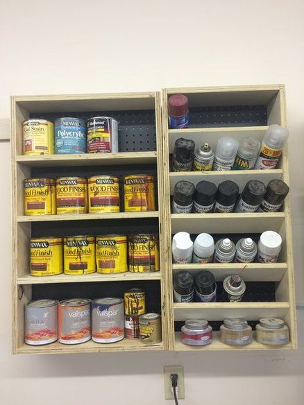 Quart And Spray Paint Can Shelves In 2020 Garage Storage Cabinets Garage Storage Spray Paint Storage