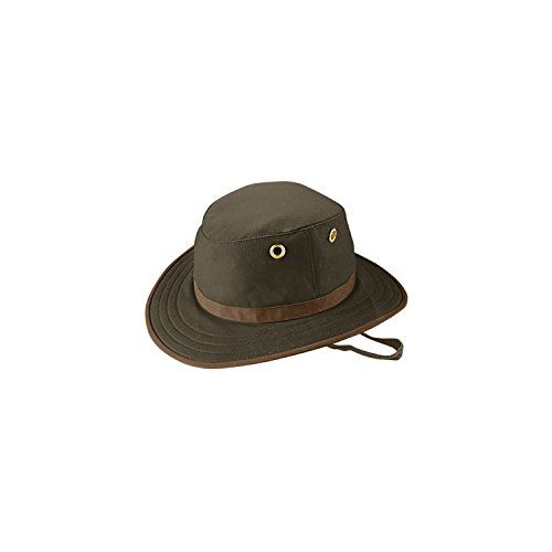 7dd49fda706 Tilley Unisex TWC7 Waxed Cotton Medium Brim Wash and Pack Outback Hat 7 58  or 23 78 in Olive with British Tan Trim     Click image to review more  details.