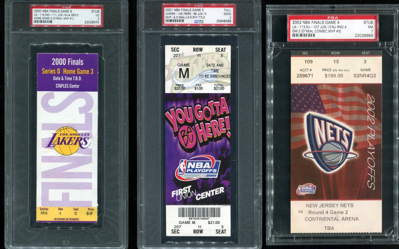 2000 2001 2002 Nba Finals Psa Ticket Collection Los Angeles Lakers Clincher Set Nba Finals Game Nba Finals Vintage Sports