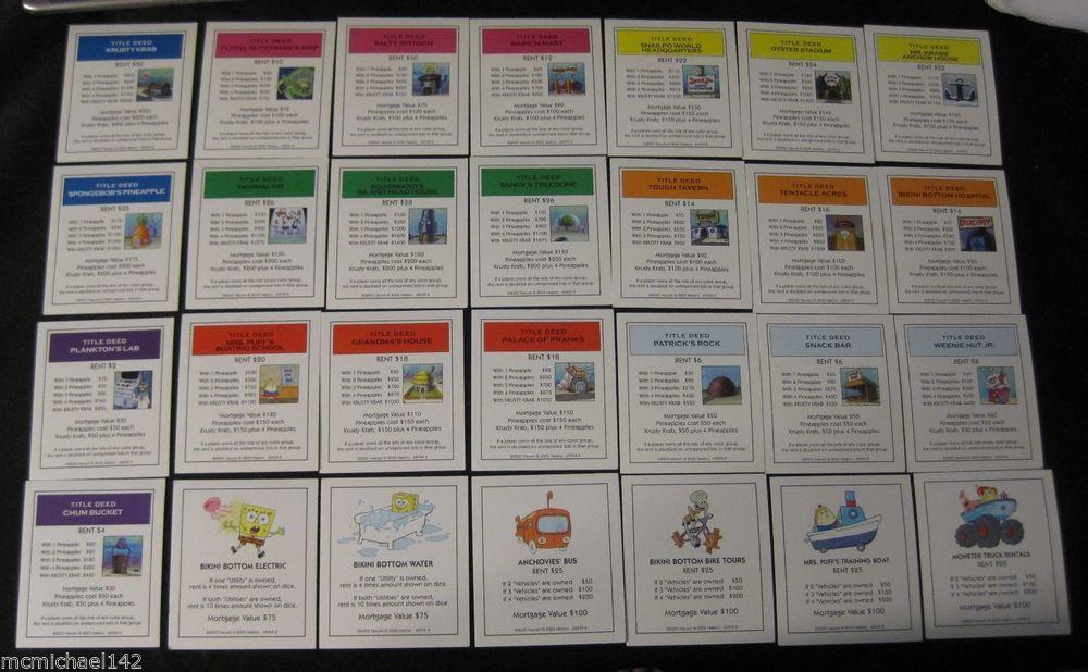 spongebob monopoly property deeds replacement parts complete se rh pinterest com