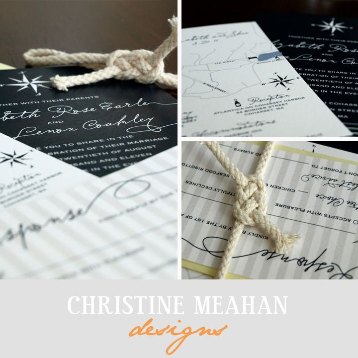 ideas for country wedding invitations%0A Nautical Rope Wedding Invitations   Christine Meahan Designs