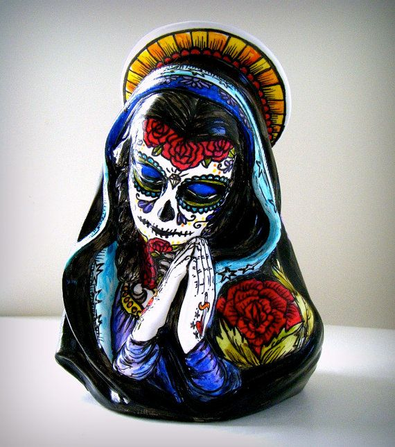 Day Of The Dead Hand Tattoo: Ceramic Madonna Candle Holder Tattoos Day Of The Dead By