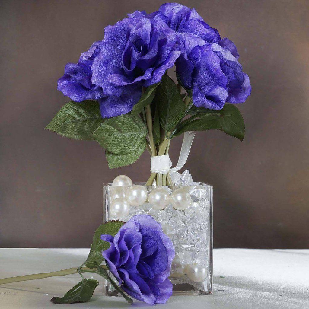 wedding centerpieces fake flowers%0A   Artificial Open Roses Bouquet  Purple  Vase CenterpiecesWedding