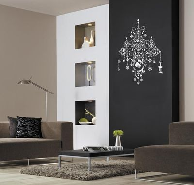 Black chandelier stencil black accent wall with white chandelier black chandelier stencil black accent wall with white chandelier mozeypictures Images