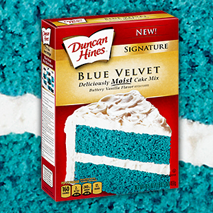 Signature Blue Velvet Cake Mix Also Comes In Pink And Yellow Colors But A With White Icing Would Certainly Look Nice The Snow