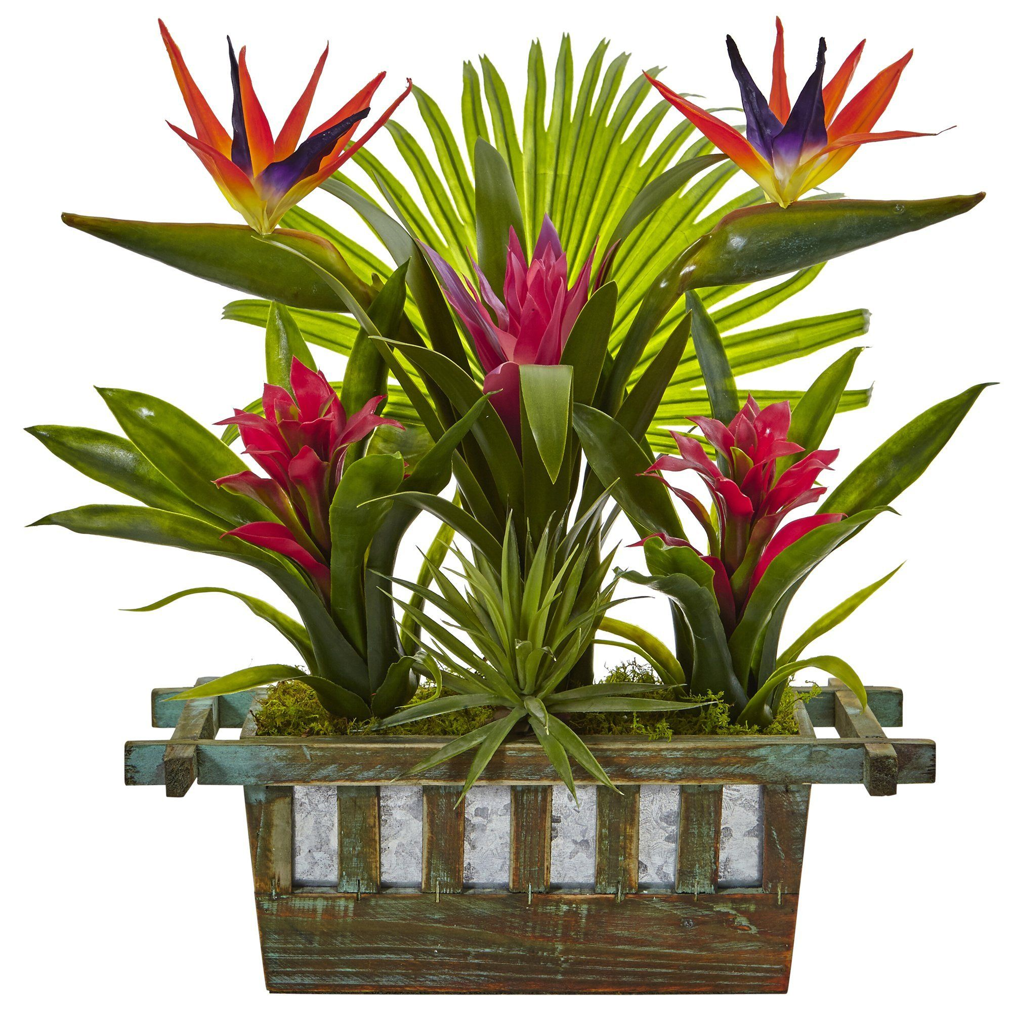 Buy Cheap Nearly Natural Birds Of Paradise And Bromeliad In Planter Silk Plant Faux Plant Fake Plan Artificial Birds Artificial Plants Indoor Artificial Plants