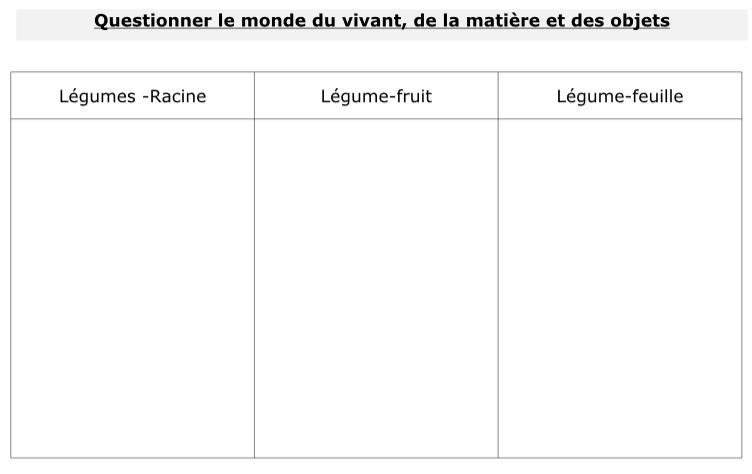 Classer les légumes légume racine légume fruit légume feuille