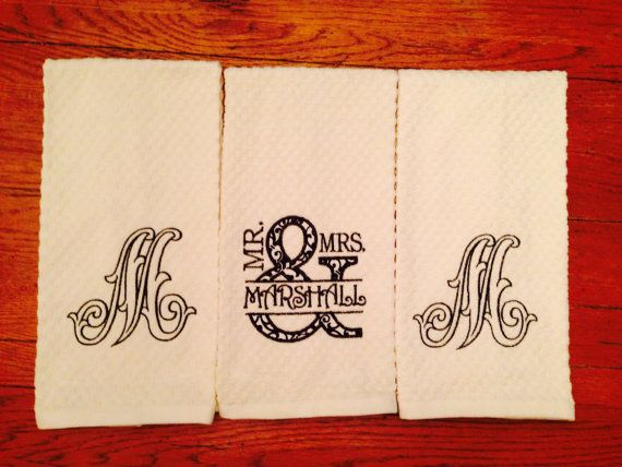 Mr And Mrs Kitchen Towel Set Personalized Monogrammed Kitchen
