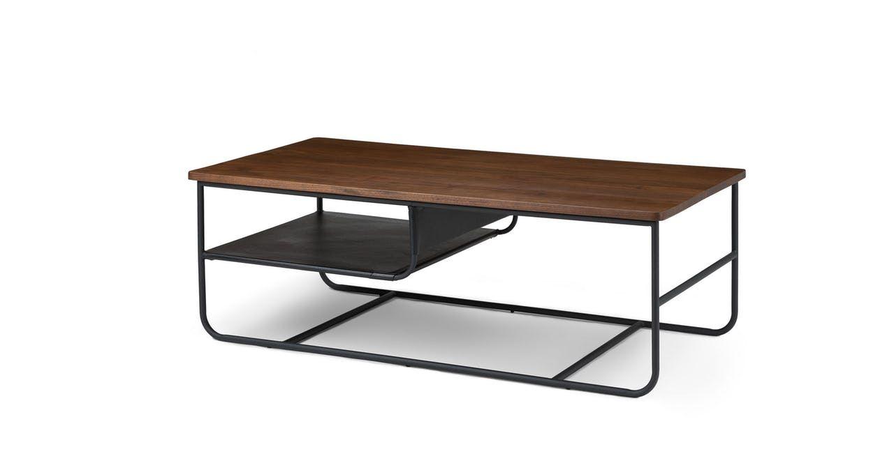 coffee table in walnut wood metal legs article maggi rh pinterest com
