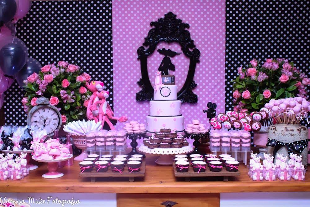 Resultado de imagem para festa retrô pantera cor de rosa
