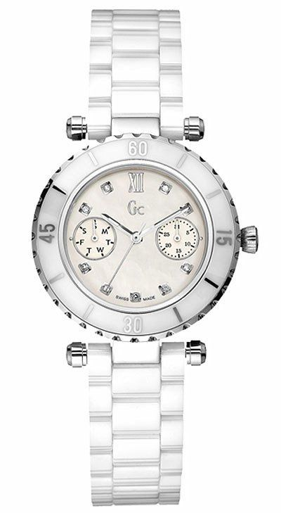 GUESS GC Diver Chic Diamond White Ceramic Ladies Watch G46003L1 ... 826908730d2a
