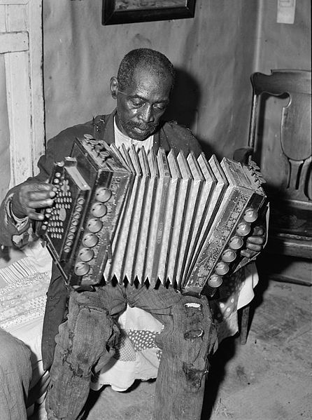John Dyson, born in slavery  playing the accordion  He was