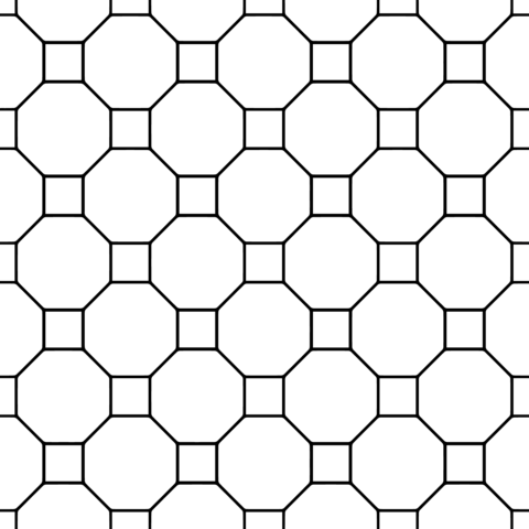 Tessellation with Octagon and Square coloring page from