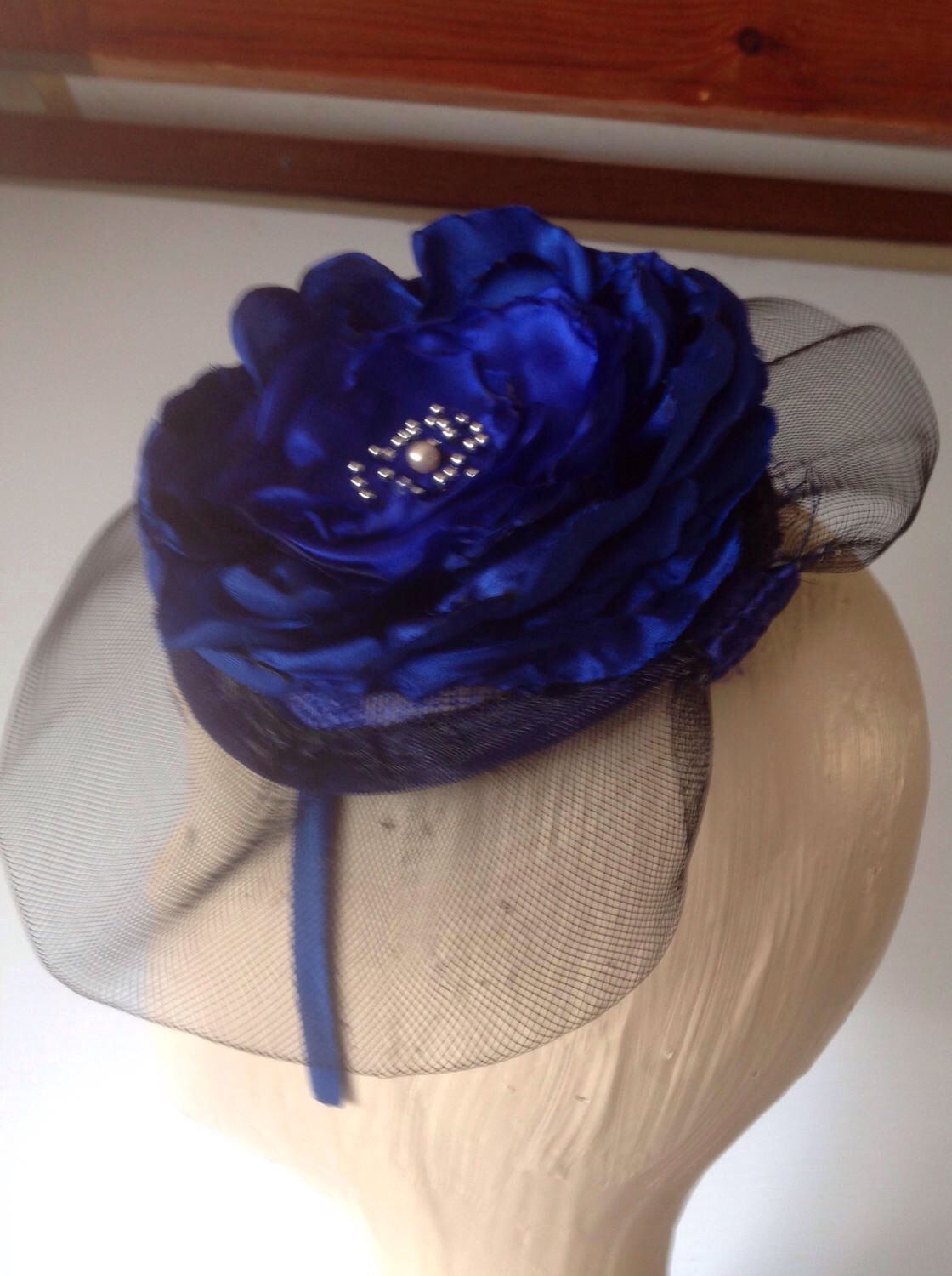 298048308f16 royal blue crinoline brim fascinator on a headband with large silk flower  and silver beads