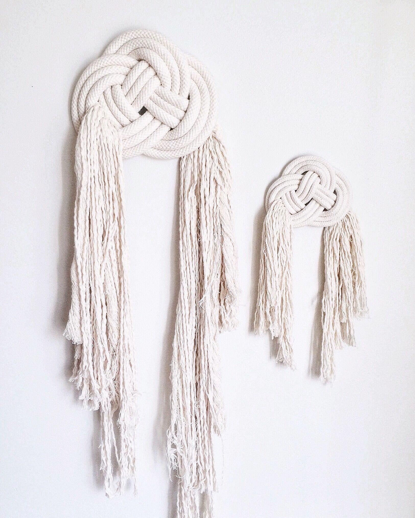 Double Coin Knot Wall Hangings Sara Clark Modern Macrame Rope Art Macrame Wall Art Nautical Rope Decor Macrame Knots