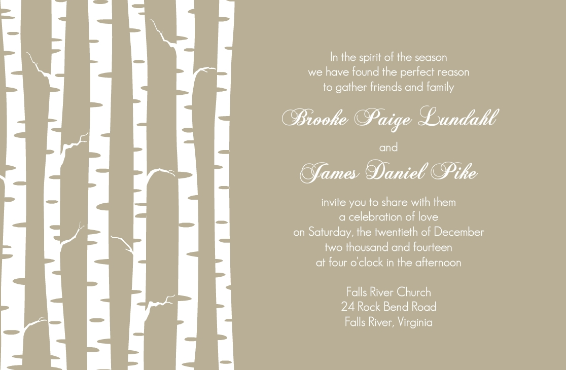 Taupe winter birch wedding invitation by weddingpaperie