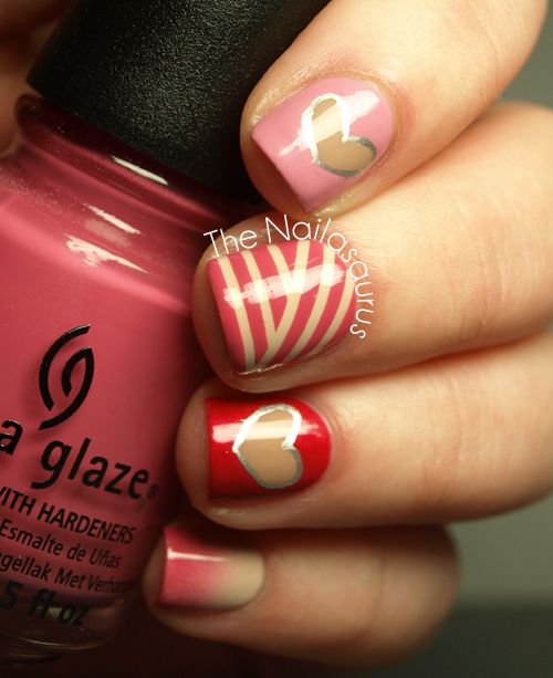 Lines and heart nail art.