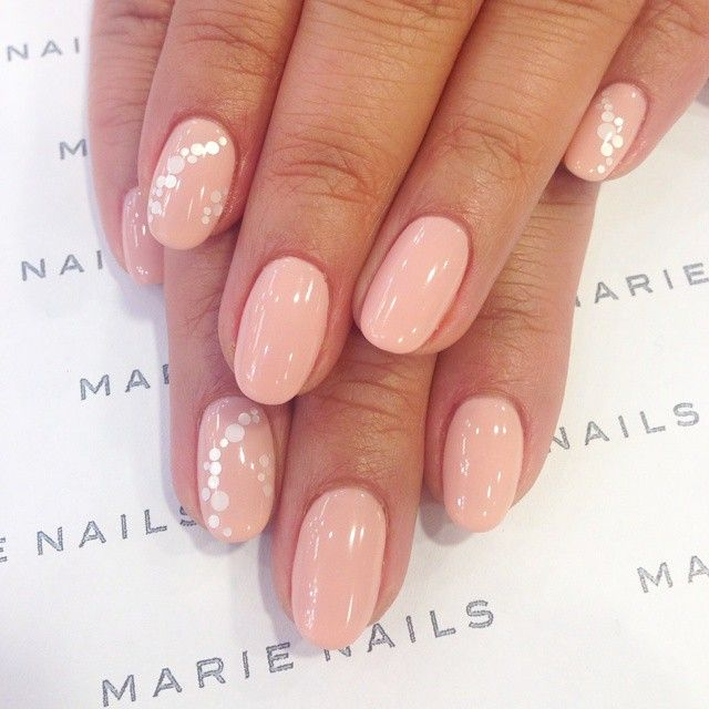 Pink nails with little silver dots on the ring finger: by marienails ...