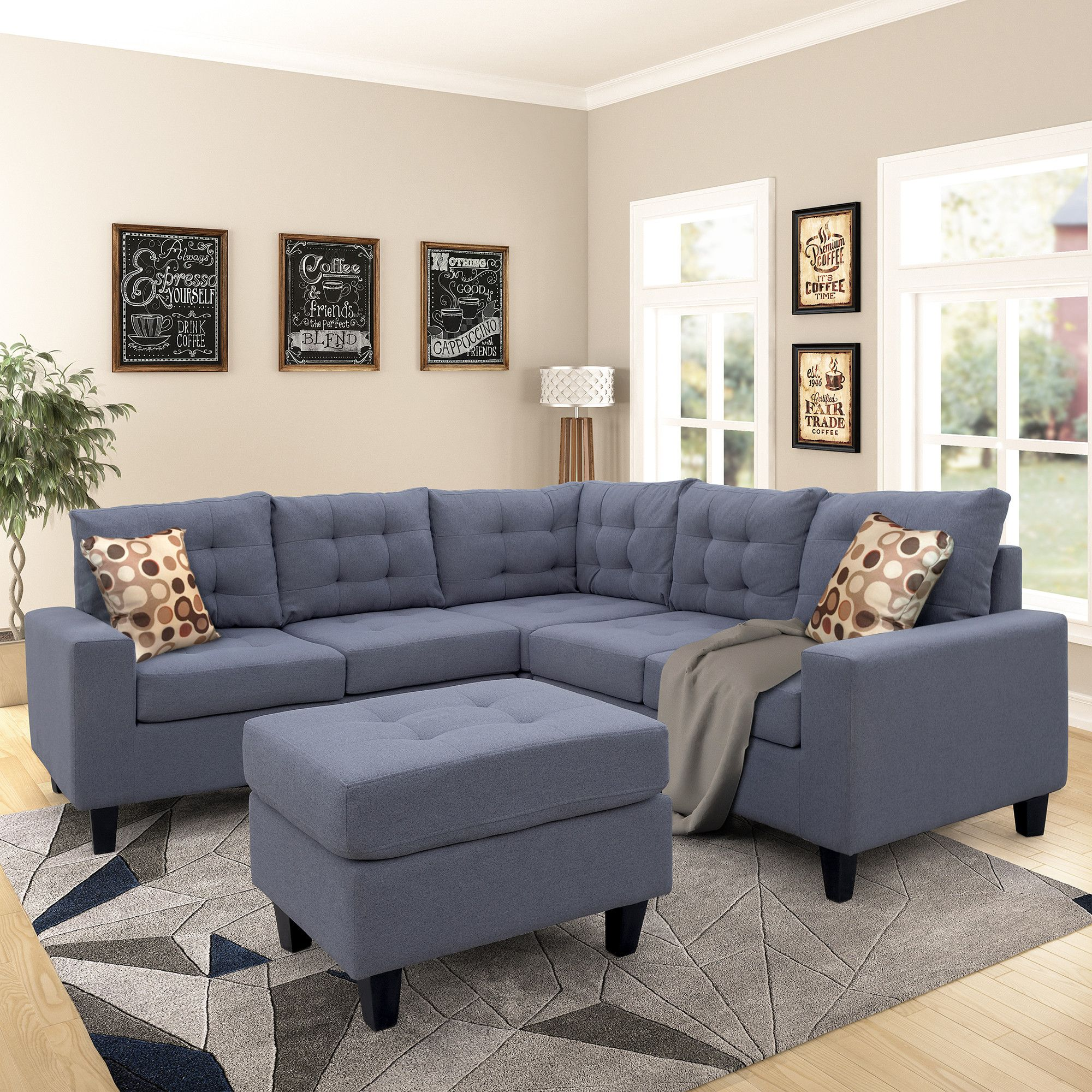symmetrical sectioanl sofa with ottoman