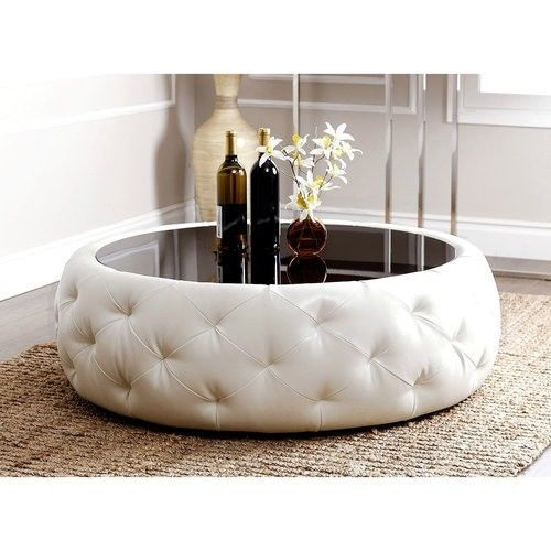 White Leather Coffee Table Round Black Glass Top Modern Living