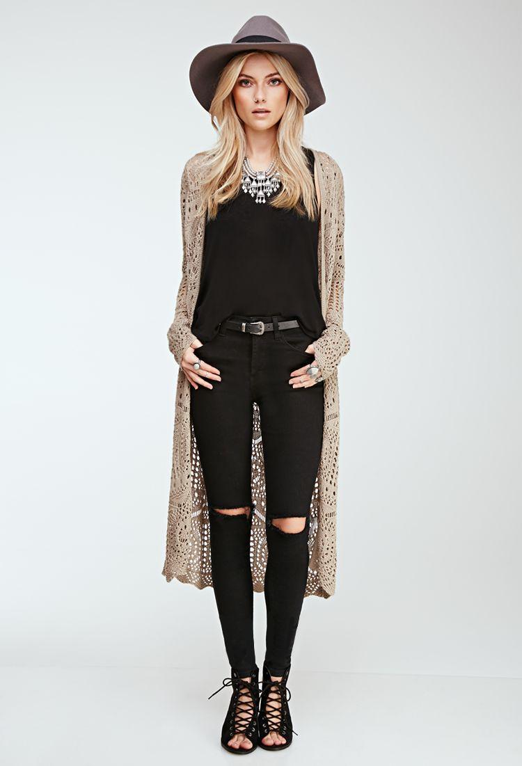 Longline Crochet Cardigan | FOREVER21 - 2000135524 | Fashion ...