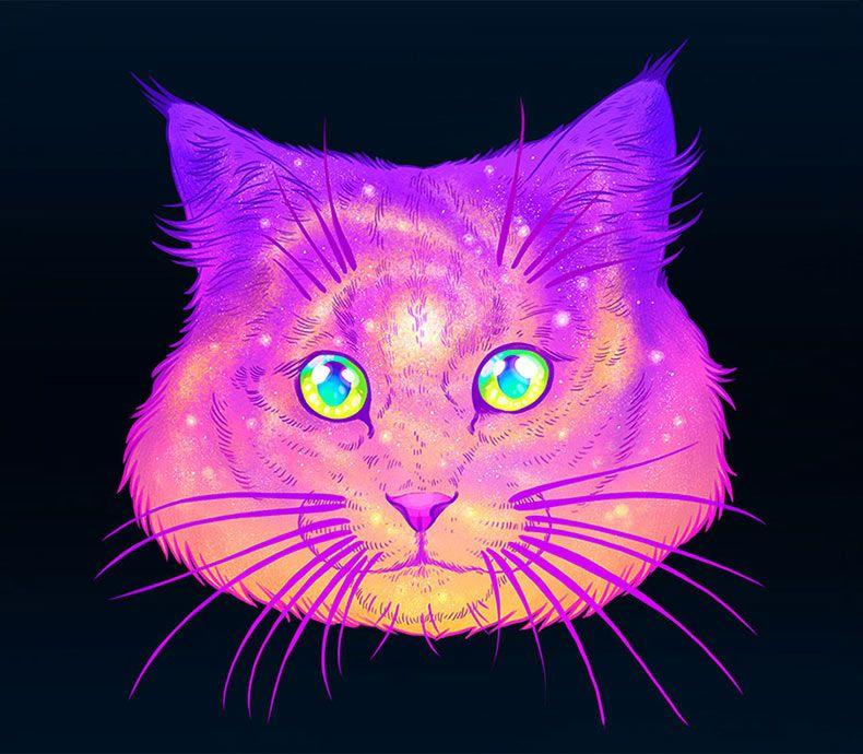 Gatos galácticos: Ilustraciones psicodélicas combinan a los gatos ...