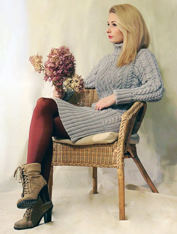 Dress-sweater knitted hand made of natural yarn Spring (merino wool, alpaka wool and silk). In this dress you will feel very comfortable, cozy, but at